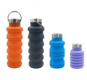 四色折疊 硅膠水樽